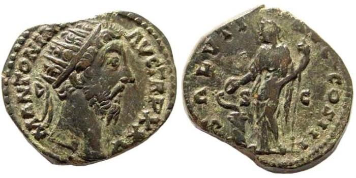 Ancient Coins - Marcus Aurelius, 161-180 AD. AE Dupondius (11.53 gm, 25mm). Rome mint, struck 170/1 AD. RIC III 1070