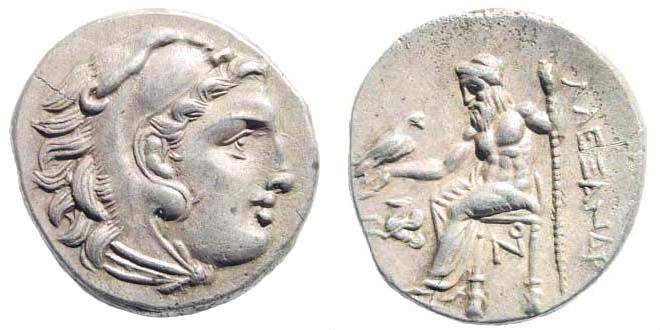 Ancient Coins - Macedonian Kingdom. Alexander III 'the Great', 336-323 BC. AR Drachm (4.21 gm, 18mm). Lampsakos mint. Struck circa 310-301 BC. Price 1382