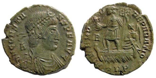 Ancient Coins - Constans, 333-350 AD, AE 2 (4.84 gm) Treveri (Trier) mint, 346-350. LRBC 44