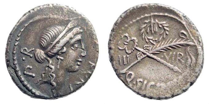 Ancient Coins - Q. Sicinius. Early 49 BC. AR Denarius (3.80 gm, 18mm). Rome mint. Crawford 440/1