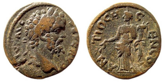 Ancient Coins - Pisidia, Antiochia. Septimius Severus, 193-211 AD. AE 22mm (5.13 gm). Lindgren/ Kovacs 1206; BMC 26