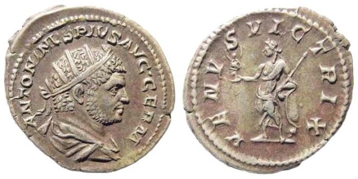 Ancient Coins - Caracalla, 198-217 AD. AR Antoninianus (5.40 gm, 24mm). Rome mint. Struck 215-217 AD. RIC IV 311c; RSC 608a