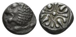 Ancient Coins - Ionia, Miletos. Late 6th-early 4th century BC. AR 1/12th Stater (1.10 gm.). SNG Helsinki II, 267