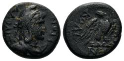 Ancient Coins - Phrygia, Laodikeia. 14-37 AD. AE 15mm (4.45 gm). Dioskourides, magistrate. RPC I 2907