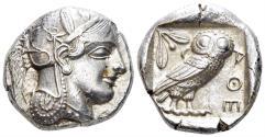 Ancient Coins - Attica, Athens. Circa 454-404 BC. AR Tetradrachm (17.19 gm, 25mm). Kroll 8