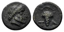 Ancient Coins - Aeolis, Temnos. 4th centery BC. AE 10mm (0.80 gm). BMC 3. Rare