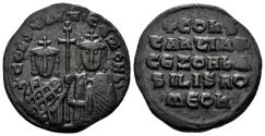 Ancient Coins - Constantine VII and Zoe, 913-959. AE Follis (8.06 gm, 26mm). Constantinople mint. Struck 914-919. SB 1758