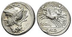 Ancient Coins - C. Coelius Caldus. 104 BC. AR Denarius (3.75 gm, 18mm). Rome mint. Crawford 318/1b
