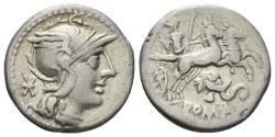 Ancient Coins - L. Caecilius Metellus Diadematus. 128 BC. AR Denarius (3.85 gm, 17mm). Rome mint. Crawford 262/1
