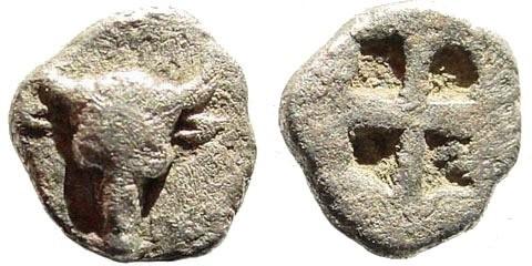 Ancient Coins - Troas, Lamponeia. 500-450 BC. AR Hemiobol (0.39 gm). Obv.: Bull's head facing. Klein 316; Traité I 2292, pl. CLXIII, 21. Rare