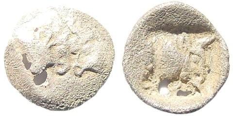 Ancient Coins - Karia, Uncertain. Circa 450-400 BC. AR Tetartemorion (0.12 gm, 7mm). Klein 502