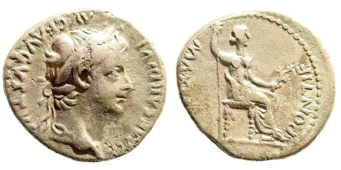 Ancient Coins - Tiberius 14-37 AD. AR Denarius (3.63 gm, 19mm). Lugdunum (Lyon) mint. RIC I 30; RSC 16a
