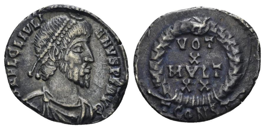 Ancient Coins - Julian II. 360-363 AD. AR Siliqua (2.24 gm, 17mm). Arelate (Arles) mint. Somerset Hoard