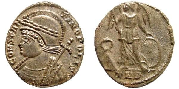 Ancient Coins - Constantinopolis, 333-334 AD. AE Follis (2.13 gm, 17mm). Trier mint. RIC VII 554