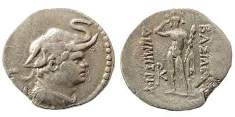 Ancient Coins - Bactrian Kingdom, Demetrius I, ca. 200-185 BC, AR Obol (0.68 gm., 13.08 mm, 7h).SNG ANS 193. Reverse flan-flaw, attractive very fine