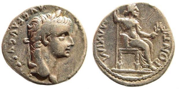 Ancient Coins - Tiberius 14-37 AD. AR Denarius (3.65 gm, 18mm). Lugdunum (Lyon) mint. RIC I 30; BN 34; RSC 16a