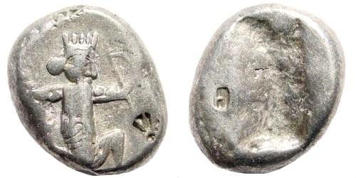 Ancient Coins - Achaemenid Kings. 420-380 BC. AR Siglos (5.56 gm, 16mm).  Bow-Dagger-Serie. Sardeis. Carradice Type IV; SNG Kayan 1033