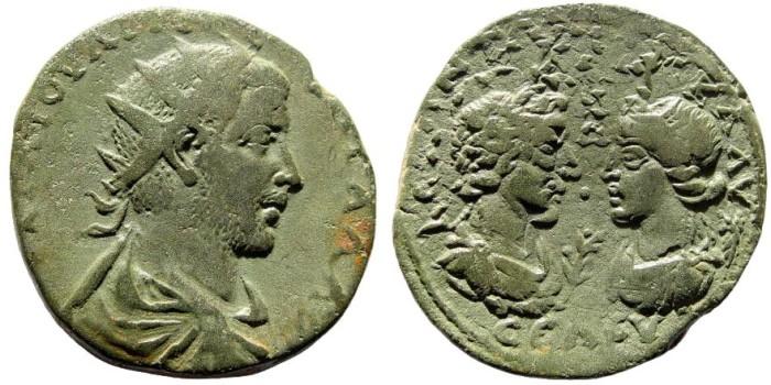 Ancient Coins - Kilikia, Seleukeia, Trebonianus Gallus, 251-253 AD. AE33mm (18.27 gm). SNG von Aulock 5849 (same dies)