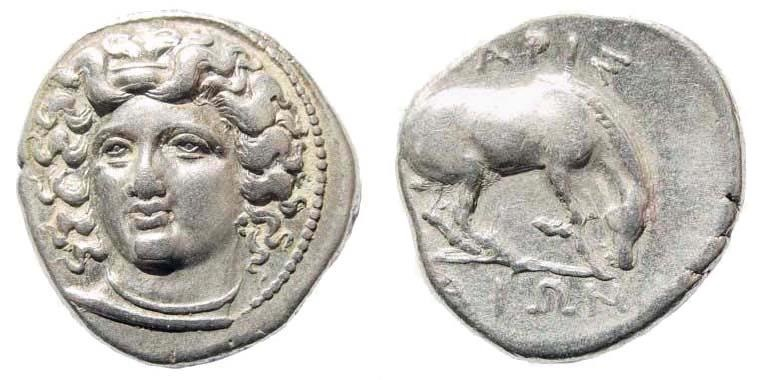 Ancient Coins - Thessaly, Larissa. Circa 356-342 BC. AR Drachm (5.97 gm, 18.5mm, 10h). BCD Thessaly II 325
