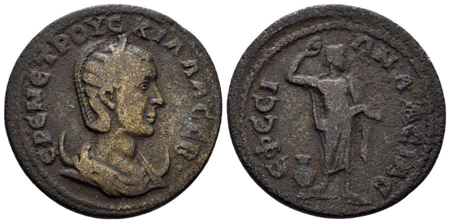 Ancient Coins - Ionia, Ephesos. Herennia Etruscilla, 249-251 AD. AE 30mm (13.35 gm). SNG München 232