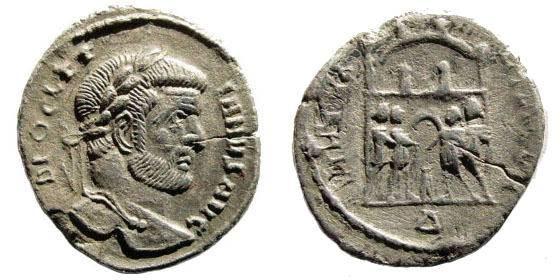 Ancient Coins - Diocletian. 284-305 AD. AR Argenteus (2.45 gm). Rome mint. Struck circa 295-297 AD. RSC 516g