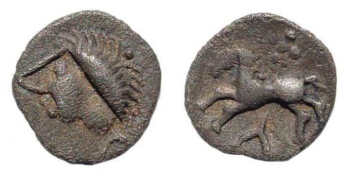 Ancient Coins - Celtic South Germany/ Austria, Vindeliker, Typ Manching II, AR (0.38 gm.). Demski 470