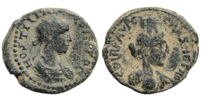 Ancient Coins - Samaria, Caesarea maritima. Hostilian. 251 AD. AE 21mm (8.40 gm). SNG ANS 844; Kadman 188