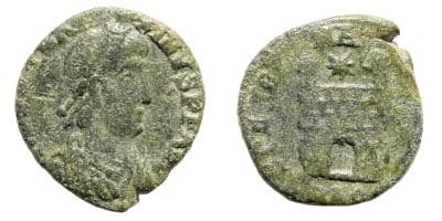 Ancient Coins - Magnus Maximus. 383-388 AD. AE 13mm (1.16 gm). Aquileia, about 387-388 AD. RIC IX, 105, 55a. Cohen 7