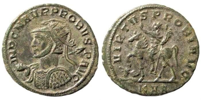 Ancient Coins - Probus, 276-282 AD. AE Antoninianus (3.38 gm, 23mm). Serdica mint. Struck 277 AD. RIC V 887