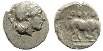 Ancient Coins - Lucania, Thourioi. Circa 4th Century BC. AR Diobol (1.15 gm, 11mm). SNG Copenhagen 1475