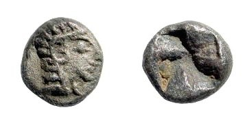 Ancient Coins - Ionia, Uncertain. Early 5th century BC. AR Obol (0.85 gm). Apparently unpublished