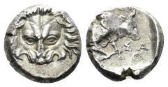 Ancient Coins - Ionia, Samos. Circa 408/4-380/66 BC. AR Hemidrachm (1.64 gm, 11 mm). Hegesi(anax), magistrate. HGC 6, 1222