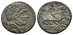 Ancient Coins - Spain, Turiasu. Late 2nd-early 1st century BC. AR Denarius (3.55 gm, 18mm). SNG BM Spain 959