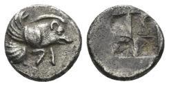 Ancient Coins - Ionia, Klazomenai. 5th century BC. AR Obol (0.96 gm, 10mm). SNG Kayan 334; Klein 391