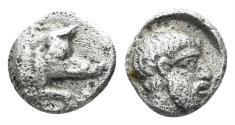 Ancient Coins - Karia, Euromos. Circa 400 BC. AR Hemiobol (0.45 gm, 7mm). Ashton, Lepsynos at Euromos, Num.Chron. 163 (2003), p. 34, #13b