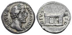 Ancient Coins - Divus Antoninus Pius. Died 161 AD. AR Denarius (3.65 gm, 17mm). Rome mint. RIC III 441 (Marcus Aurelius)
