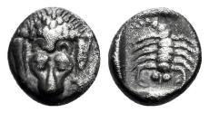 Ancient Coins - Karia, Mylasa (?). Circa 450-400 BC. AR Obol (0.46 gm, 8mm). SNG Kayhan 934