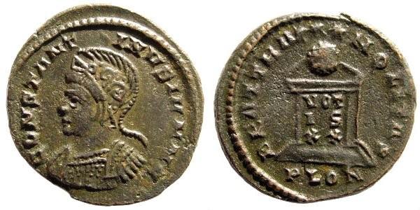 Ancient Coins - Constantine II, as Caesar. 317-340 AD. AE3 (3.43 gm, 19mm). Londinum, 321-322 AD. RIC 237