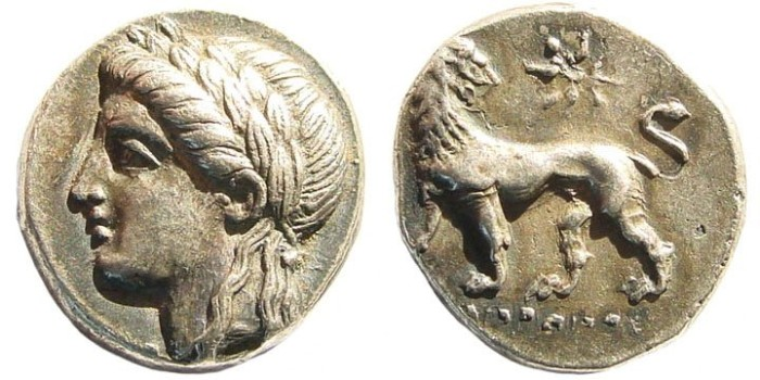 Ancient Coins - Ionia, Miletos. Circa 350-340 BC. AR Drachm (3.62 gm, 15mm). Demainos, magistrate. Deppert 103 (V8/R8)