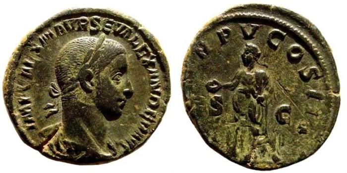 Ancient Coins - Severus Alexander, 222-235 AD. AE Sestertius (18.44 gm, 31mm). Rome 226 AD. RIC IV 437
