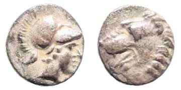 Ancient Coins - Pamphylia, Side. Circa. 400-333 BC. AR Obol (0.68 gm, 9mm). SNG Keckman 671–673; SNG PFPS 353 (here Pisidia, Selge)