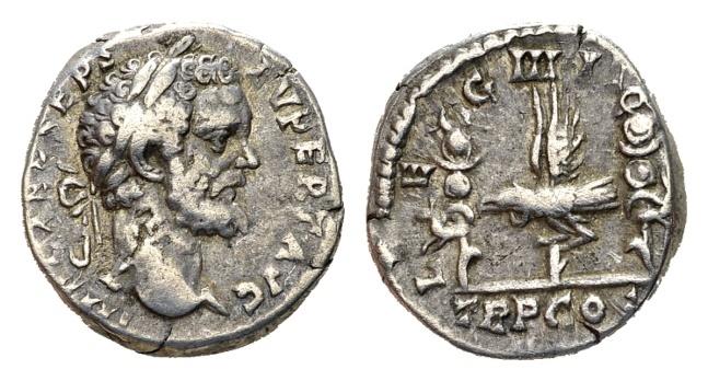 Ancient Coins - Septimius Severus, 193-211 AD. AR Denarius (3.39 gm, 17mm). Struck 193 AD. RIC IV 7