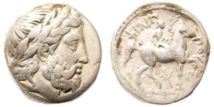 Ancient Coins - Macedonian Kingdom. Philip II. 359-336 BC. AR Tetradrachm (14.10 gm, 23mm, 12h). Amphipolis mint. Struck under Kassander, circa 316-314 BC. SNG ANS 683