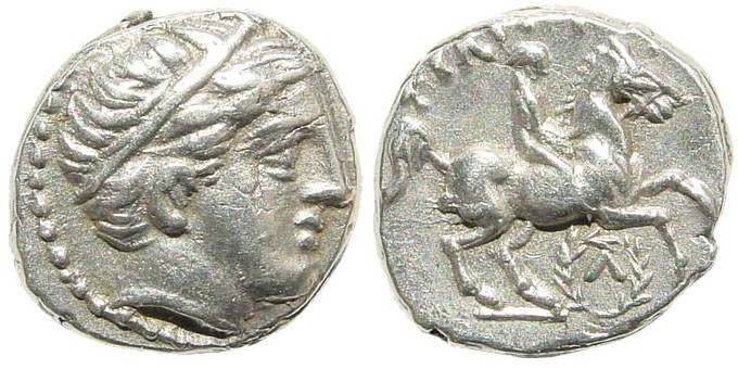Ancient Coins - Macedonian Kings, Philip II, 359-336 BC, AR 1/5th Tetradrachm (2.59 gm, 13mm). SNG ANS 622