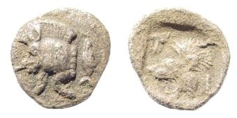 Ancient Coins - Mysia, Kyzikos. Circa 510-475 BC. AR Hemiobol (0.37 gm, 9mm). SNG BN Paris 386