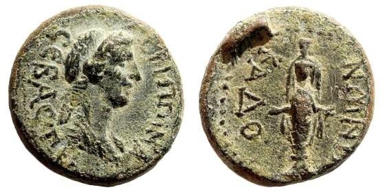 Ancient Coins - Phrygia, Kadoi. Agrippina II, wife of Claudius I, 41-54 AD. AE 17mm (3.07 gm). RPC I 3064; BMC 20; SNG Copenhagen 251