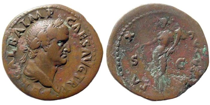 Ancient Coins - Galba, 68-69 AD. AE Dupondius (13.99 gm, 30mm). Rome mint. Struck circa October 68 AD. RIC I 415