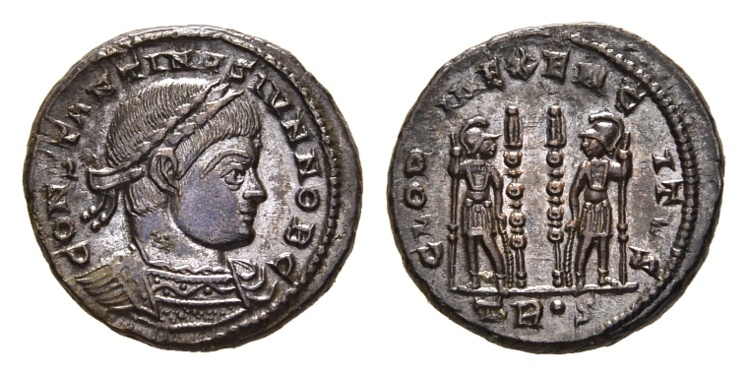 Ancient Coins - Constantine II, as Caesar, 317-337 AD. AE Follis (2.85 gm, 17mm). Treveri (Trier) mint. Struck 330-335 AD. LRBC 56