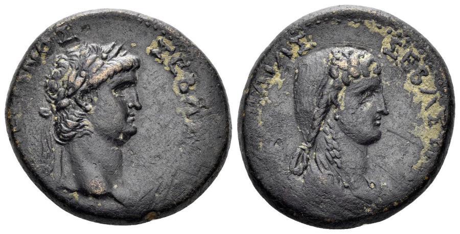 Ancient Coins - Galatia, Koinon of Galatia. Nero, with Poppaea. 54-68 AD. AE 25mm (12.72 gm). Tavium(?) mint. Struck 62-65 AD. RPC I 3562
