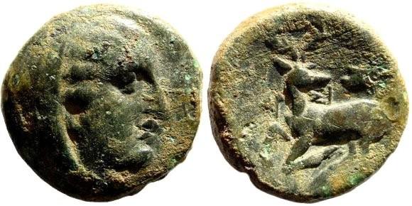 Ancient Coins - Ionia, Ephesos (as Arsinoeia). Arsinoë, wife of Lysimachos. Circa 288-280 BC. AE 17mm (3.53 gm). Timagoras magistrate. SNG Copenhagen 259